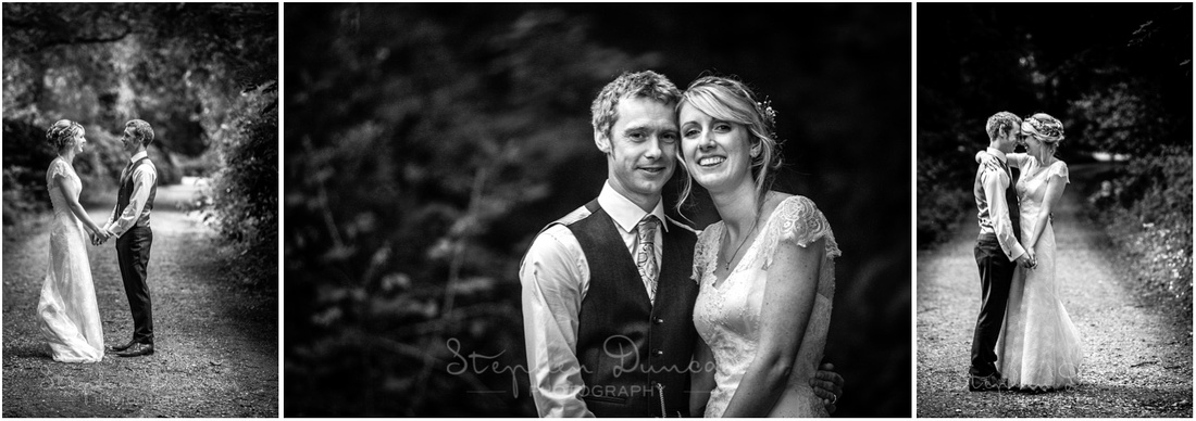 Wedding in the Woods The couple together, black and white photos