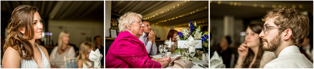 Colour photos of guests watching the wedding speeched