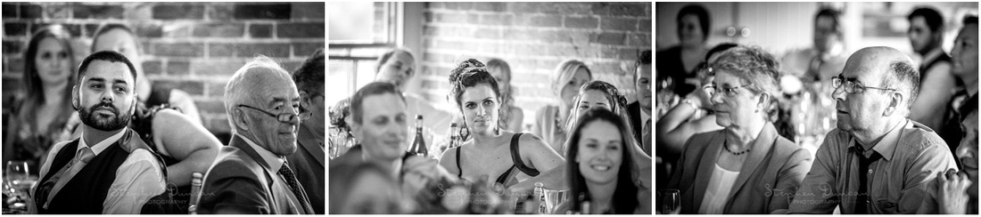 Black and white photos of guests watching at the start of the wedding speeches