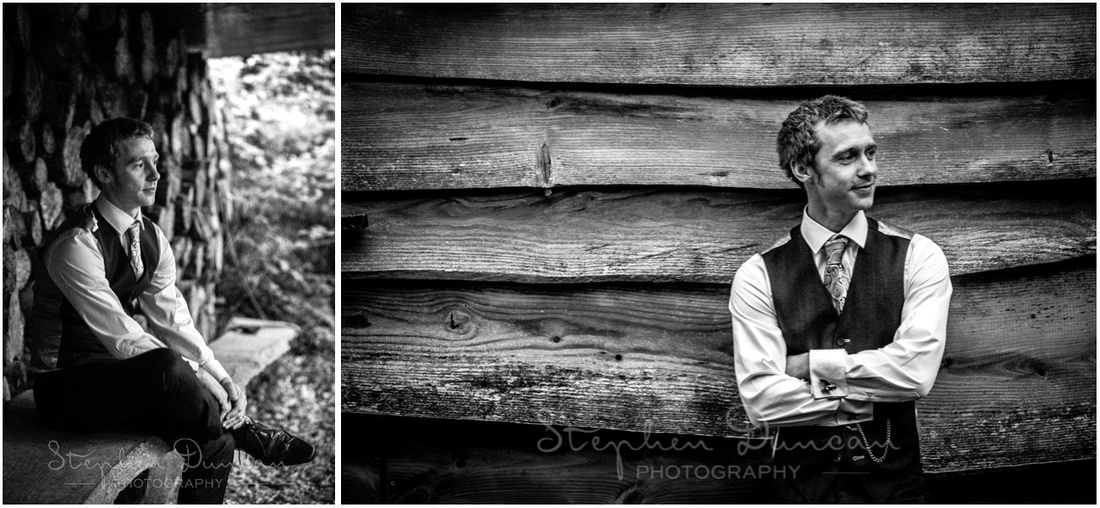 Wedding in the Woods Natural and relaxed portraits of the groom against a wood-themed background in black and white