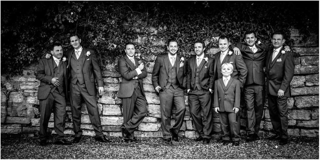 Black and white photo of groom and ushers