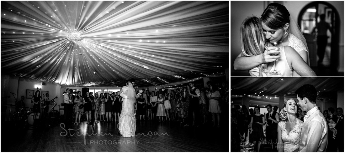 Bride and groom dance together at the start of the evening's celebrations