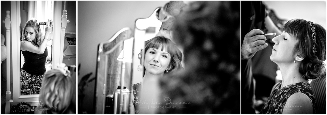 Black and white images of bride and bridesmaid working on hair and make-up in front of mirrors in the bridal dressing room.