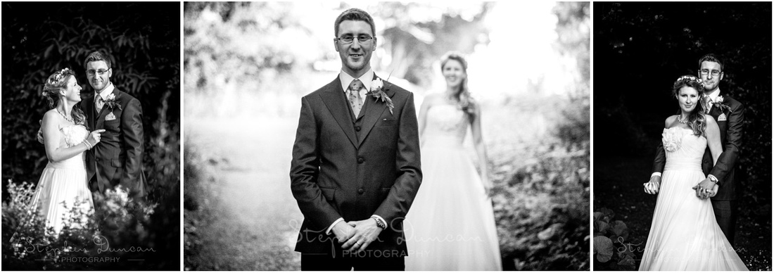 Bride and groom in the grounds of the house for some portraits