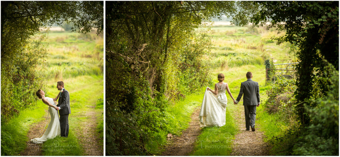 Colour photos of couple together in countryside near Sopley Mill