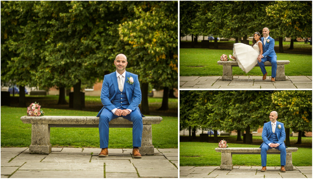 Bride and groom sat on a stone bench in the Cathedral grounds