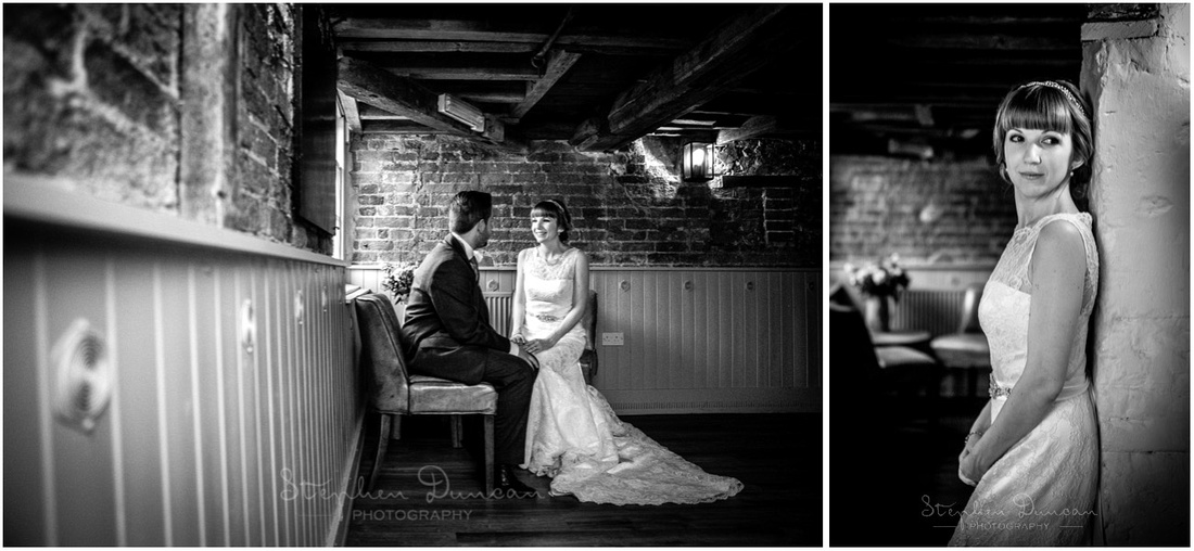 Natural light photos of couple inside mill