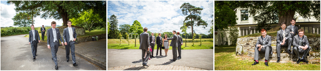 Groom, ushers and guests outdoors at the front of the hotel