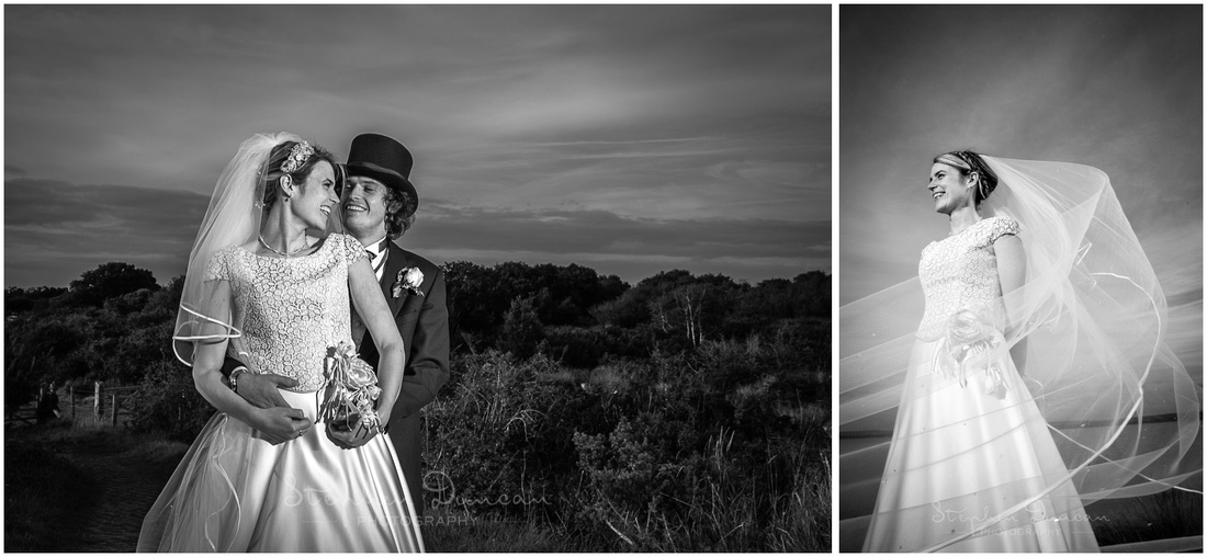 Black and white images of bride and groom with veil blowing in the wind