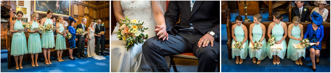 Details of bridesmaids and couple holding hands during ceremony