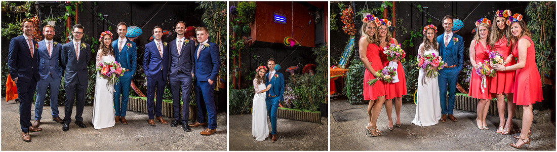 Bridal party photos taken in entrance foyer of London wedding venue