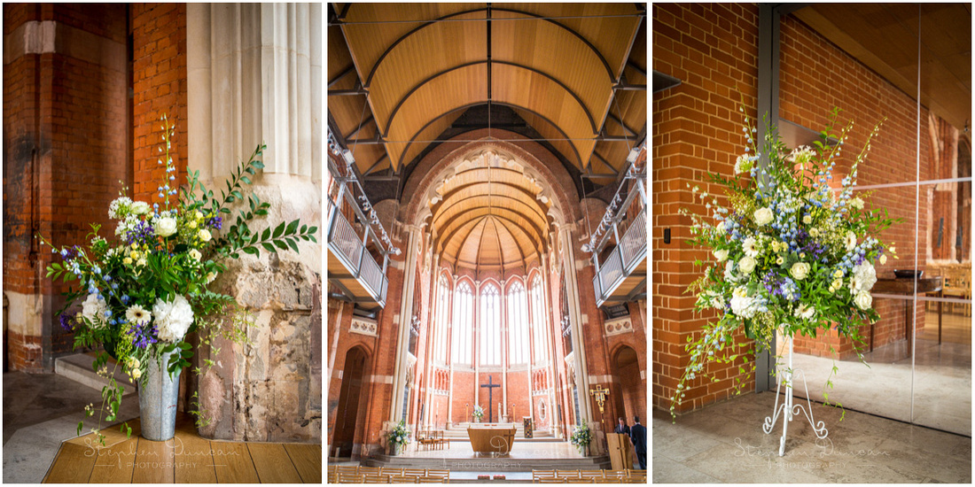 Floral arrangements and view of the altar
