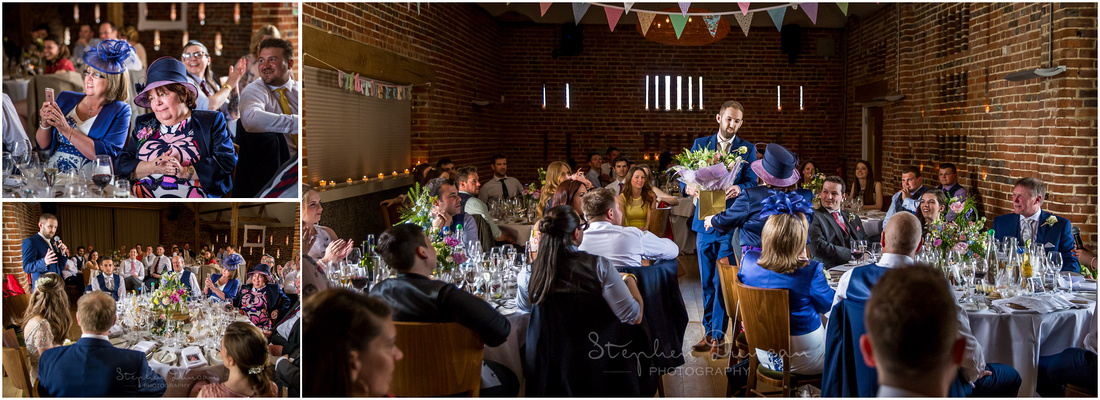 The groom hands out gifts as part of his wedding speech