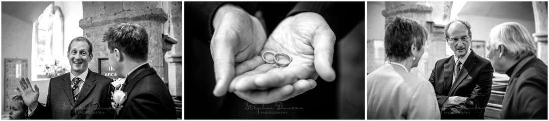 The best man displays the wedding rings, as guests start to make their way into the church