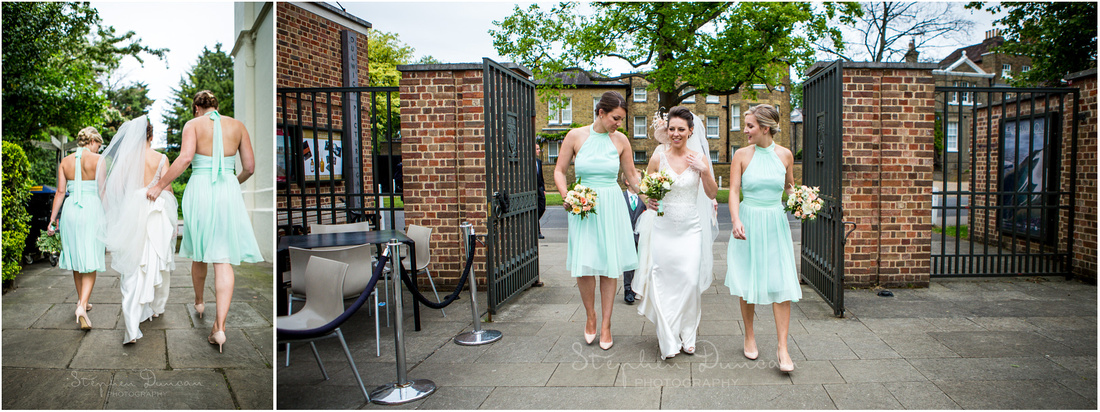 The bride is accompanied by her bridesmaids as they walk from the church to the Picture Gallery for the next stage of the celebrations
