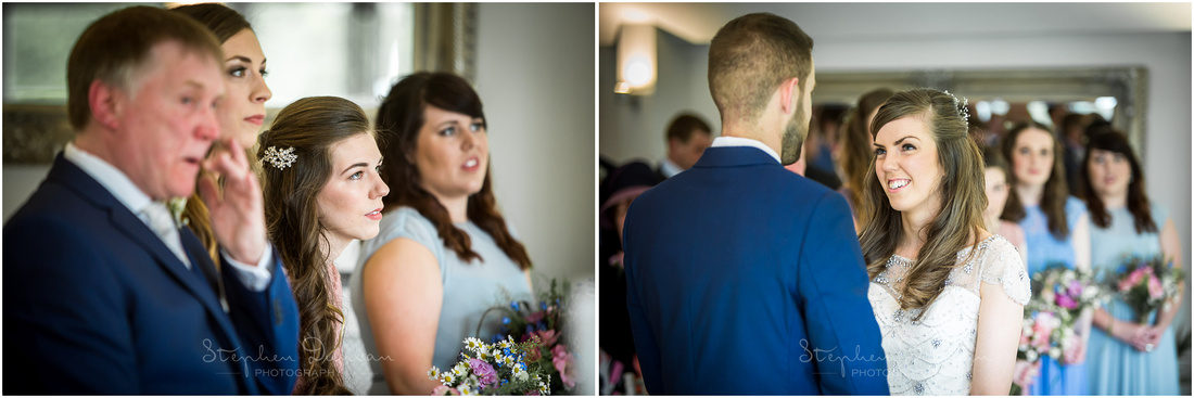 Guests watch on as bride and groom turn to each other to make their declarations and vows