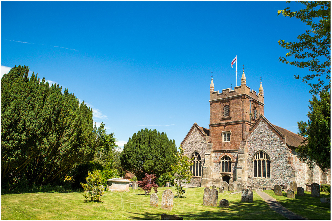 The beautiful old church bathed in summer sunshine