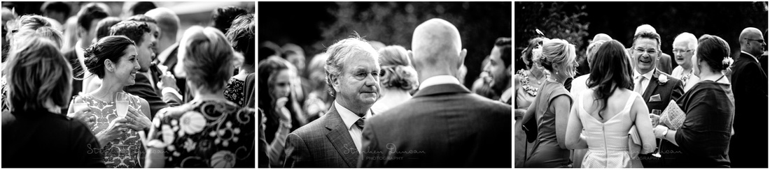 Natural photos of guests during post-ceremony drinks reception at Sopley Mill