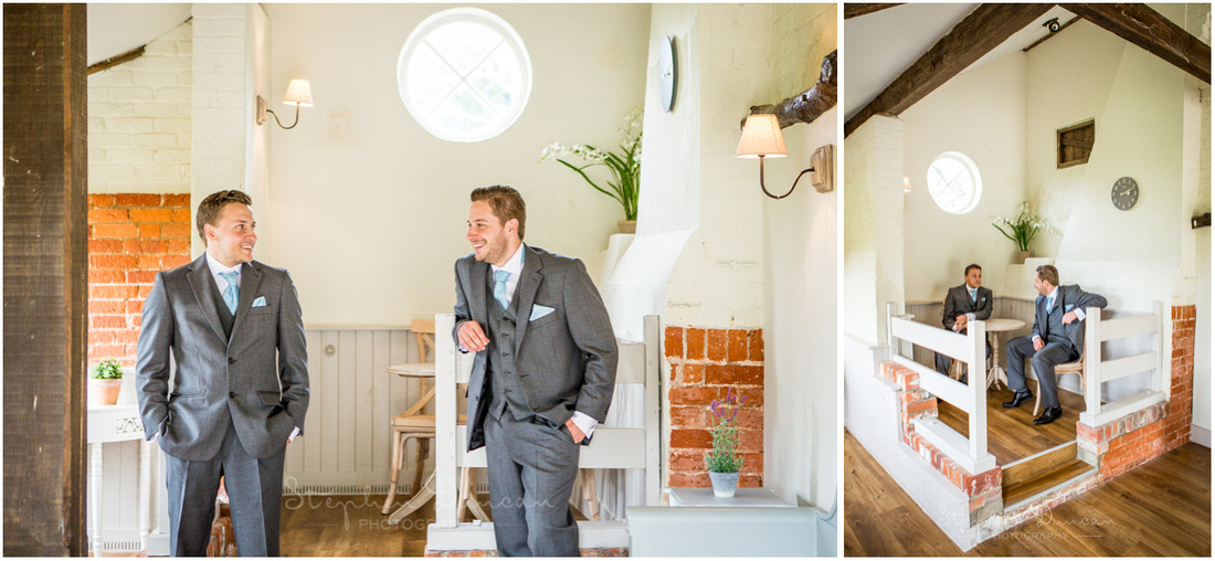 Groom with his best man in one of the smaller reception rooms on the ground floor of the mill