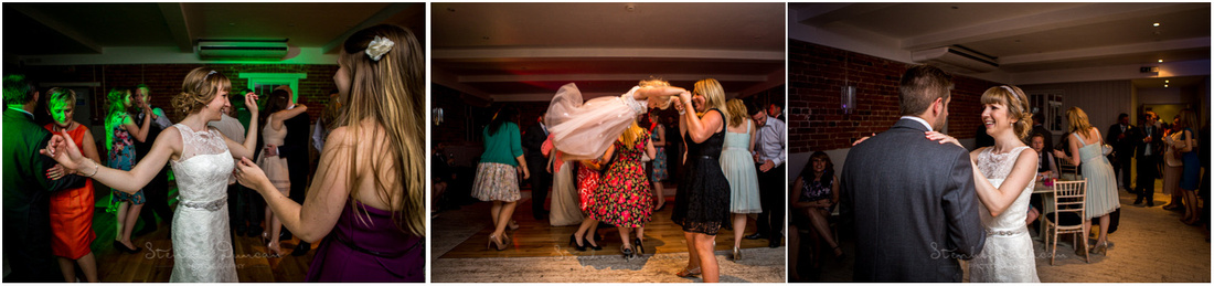 Bride and guests on the dance floor at Sopley Mill