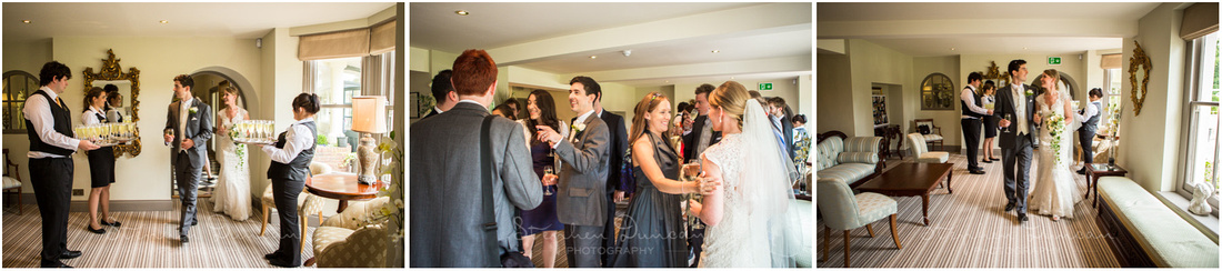 Bride and groom move through to the lounge for well-earned drinks after the wedding ceremony