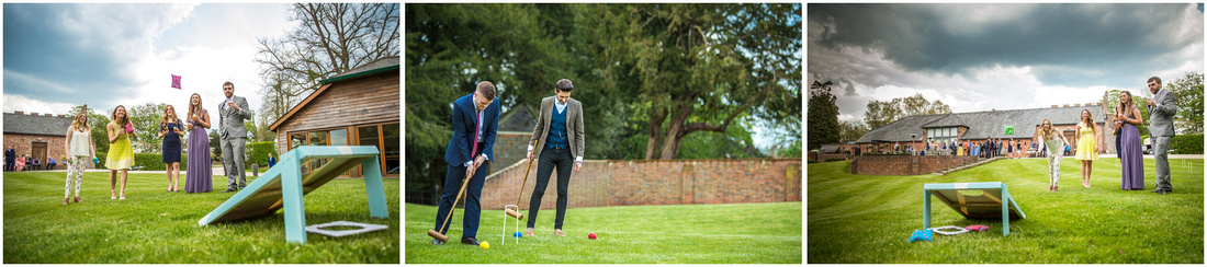 Guests playing games on the lawn outside the reception venue