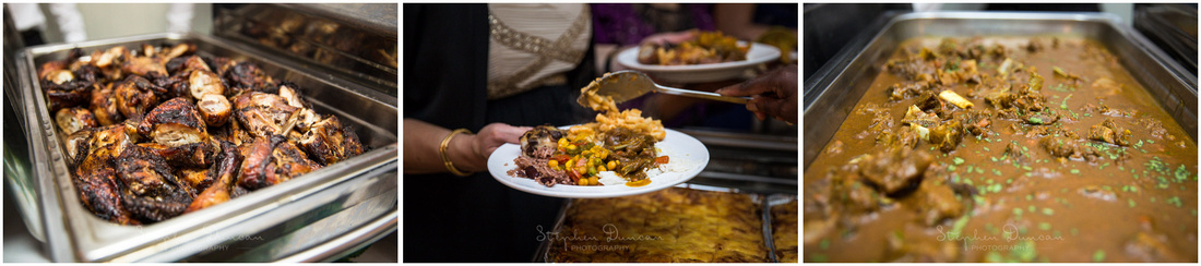 Caribbean food served for the wedding breakfast