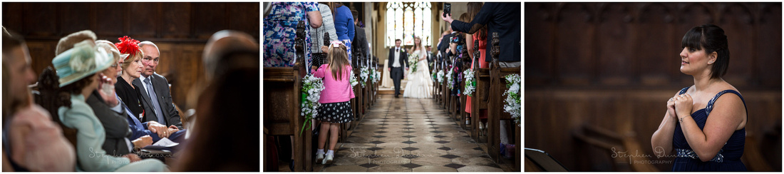 The bride and groom emerge from the chapel at the end of the marriage service