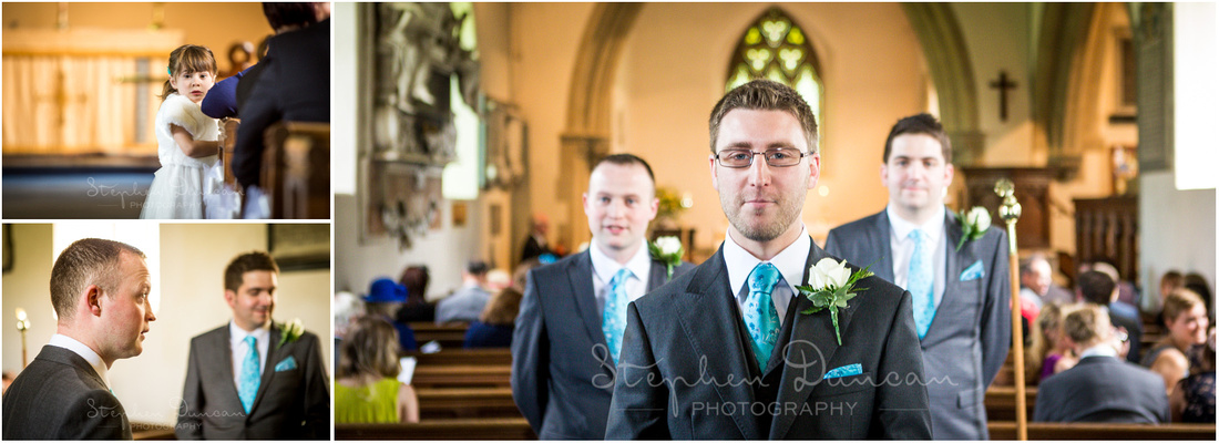 Groom inside the church with ushers