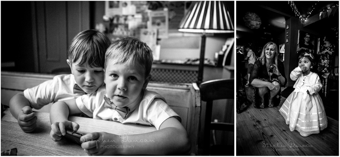 Black and white photos of children at wedding reception at Winchester Corner House
