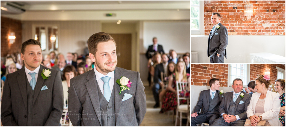 Groom waiting for bride to arrive in Sopley Mill wedding ceremony room