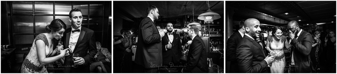Candid black and white photography during wedding reception