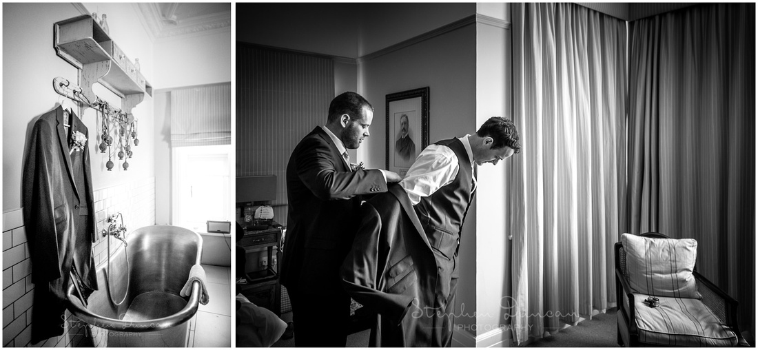 Groom and best man getting ready at Beach House Hotel in Milford-on-Sea
