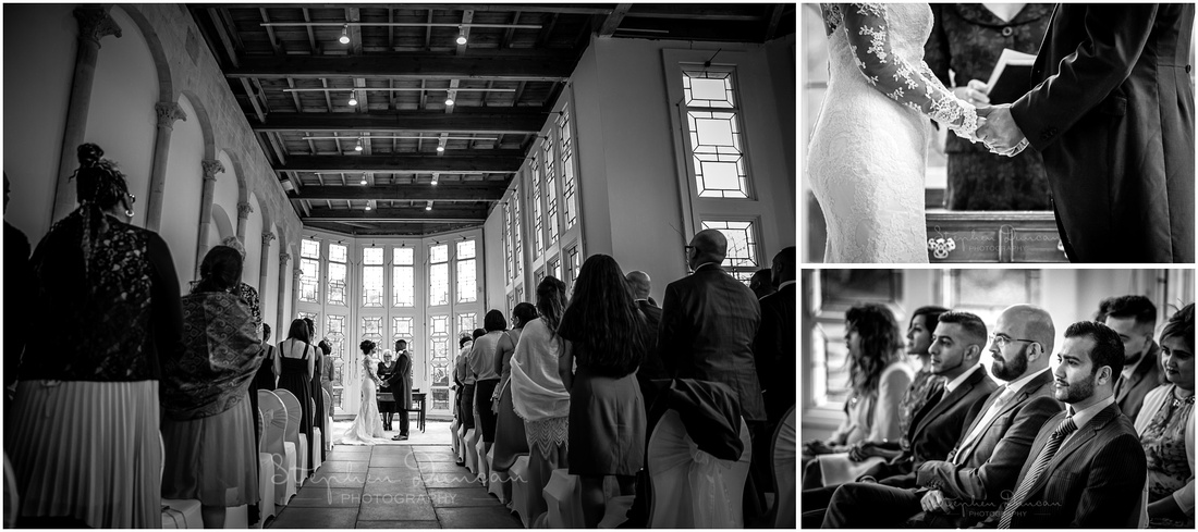 Black and white photographs from Highcliffe wedding