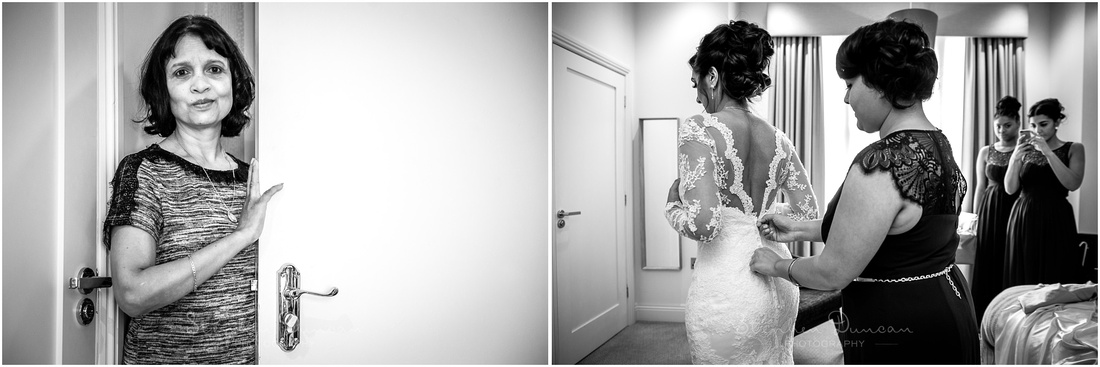 Black and white photographs taken during bridal prep stage of wedding day